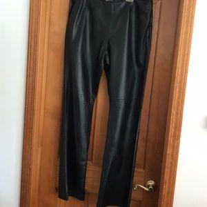 MODA International black leather pants 16 long
